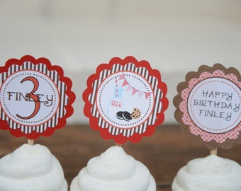 Milk and cookies, milk & cookies, milk and cookies cupcake toppers, milk and cookies party, cookies, milk red brown