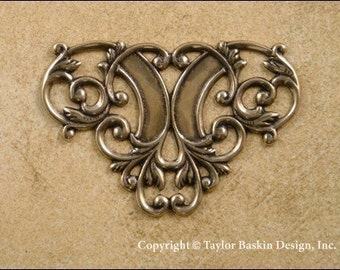 Victorian Filigree Barrette, Pin or Pendant Component in Antiqued Polished Brass (item 1627 AG) - 6 Pieces