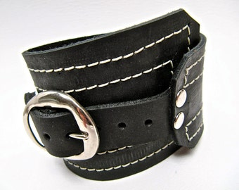 Black Leather Cuff, Unisex Buckle Wrap