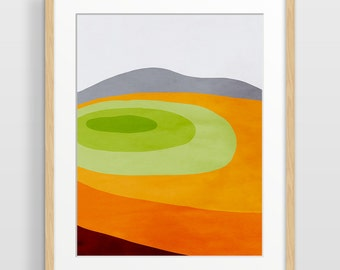 Impression d'Art mur orange, Mid Century Modern Art, aquarelle abstraite, Art scandinave, décor de salle de séjour, abstrait impression