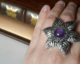 amethyst flower ring- statement jewelry