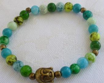 Buddha bracelet,buddha beaded bracelet,handmade,gift,buddhist jewellery,buddha jewelry,stretch bracelet,zen,spiritual jewellery,buddha head