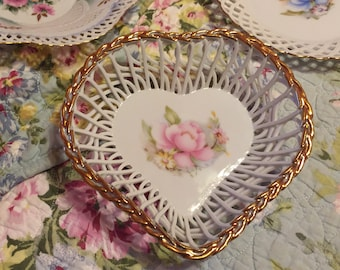 Reticulated Heart Dish Pink Rose Made in Romania Porzelain Porcelain Valentine Day Gift
