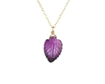 Leaf necklace - amethyst necklace - amethyst necklace - February birthstone - a gold wire wrapped amethyst leaf on a 14k gold vermeil chain