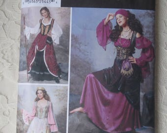 Simplicity 9966 Sewing Pattern Corset, Blouse, Overskirt, Gypsy Steampunk Historical Medieval Renaissance Theater Costume Size Women 6-12