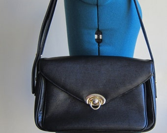 Vintage Black Textured Leather Shoulder Purse with Gold Tone Hardware Ma Belle - Structured Purse, Gold Tone Closure, Interior Serial Number