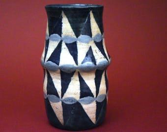 Blue and White Studio Pottery Vase