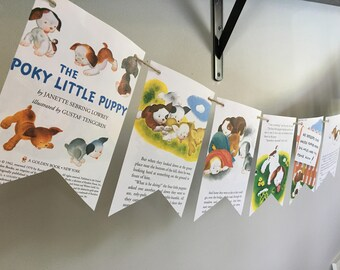 The POKY LITTLE PUPPY vintage book page banner garland bunting