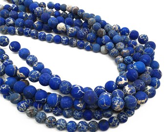 Matte Impression Jasper Round Beads,Dark Blue Beads, 6mm 8mm 10mm Gemstone Beads Approx 15.5 Inch Strand