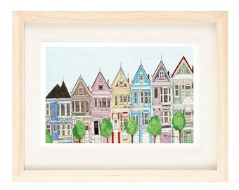 SAN FRANCISCO, CALIFORNIA - 5 x 7 Colorful Illustration Art Print, Painted Ladies, Victorian Houses, Blue, Yellow, Pink, Wall Decor