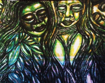 Green Goddesses In The Forest Tie Dye Version Colored Pencil And Pen Print 8x10 in.