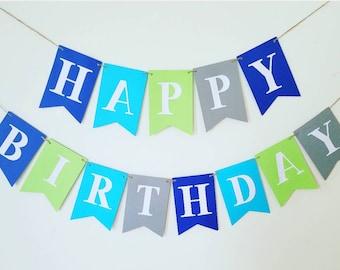 Happy Birthday banner,boy banner personalized,boy Birthday banner.Green birthday banner.Gray birthday banner,blue birthday banner,boy banner