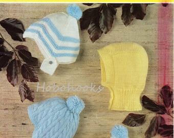 Baby Knitting pattern baby boys helmets hat balaclava baby boys hats Birth-12 months DK Baby knitting patterns PDF instant download