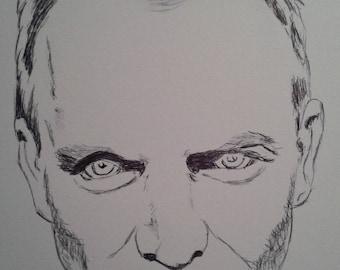 Sting portrait in pen