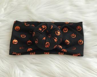 Pumpkin bun top headband