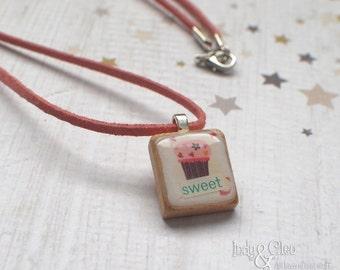 Cupcake Collage Scrabble Necklace, Handmade Scrabble Tile Pendant, Wood Pendant, Tiny Dessert Jewelry, Cupcake Lover Gift, sweet