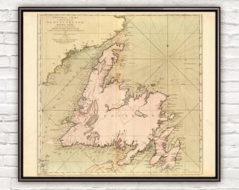 Old Map of Newfoundland Canada 1755