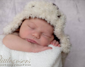 Earflap baby hat newborn photo prop brown creamy white faux fur hand knit aviator lumberjack bomber boy girl unigender