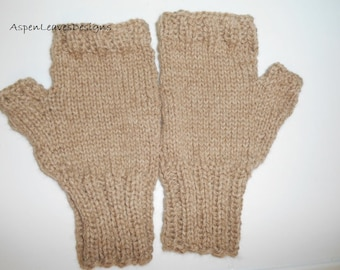 Adult Fingerless Gloves in light brown. Pure Baby Alpaca. Double Thickness. L to XL, Mens Tan Mitts