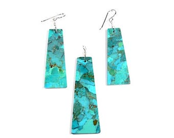 925 Sterling Silver Pendant and Earrings Set with Natural Kingman Turquoise Stone