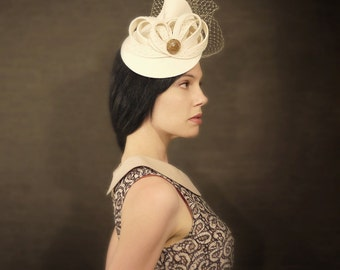Cream Felt Wedding Hat - Bridal Series - Made to Order