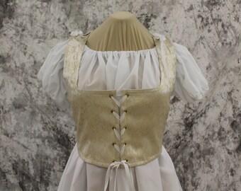 Cream Renaissance Costume-Halloween Costume-Medieval Bodice-LARP-Ren Fair-Steampunk-SCA-Adult Costume-Fantasy Corset-Item #268