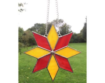 Stained glass star, red and yellow star suncatcher decoration