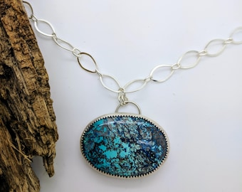 azurite trex sterling silver necklace
