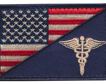 "Tactical USA Flag / EMT ""Caduceus"" Embroidered Patch"