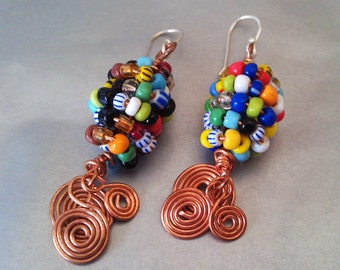 Modern Tribal copper spiral  Earrings