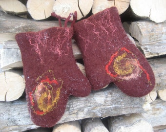 Felted wool kitchen oven mitts gloves pot holders decorated Gift under 50 Brown blue red purple green pink red black white rustic lady woman