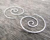 Sterling Swirl Hoop Earri...