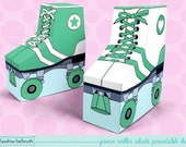green roller skates - favor boxes fit gift cards, candy, cookies and more party printable PDF kit - INSTANT download