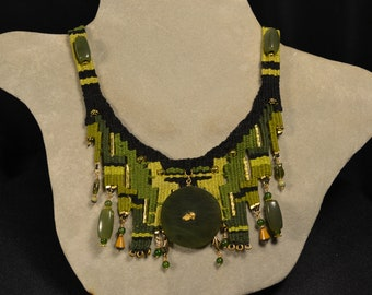 Jade with Gold Nugget Woven Necklace 876