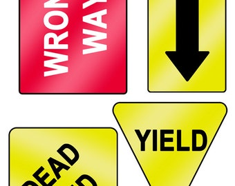Printable Road Signs Instant Digital Download; Yield, Dead End, Wrong Way, Double Arrow.