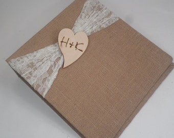 Wedding Photo Album, Rustic Photo Book, Burlap Photo Album with Personalized Woodburned heart, Personalized Rustic wedding album, Engagement
