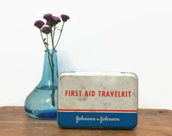 Tin First Aid Kit, Johnson & Johnson Travel Kit, 1960s, Includes Medical Supplies and Instructions