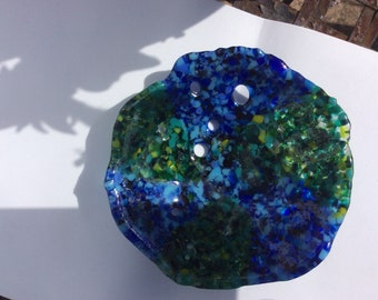 Pretty blue and green fused glass bowl
