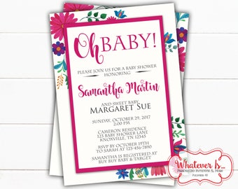 Oh Baby! Floral Baby Shower Invitation | Floral Baby Shower | Colorful Floral Baby Shower | Colorful Flowers Baby Shower | Printed | DIY