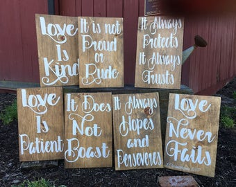 Love is Patient Aisle signs for wedding (set of 8)