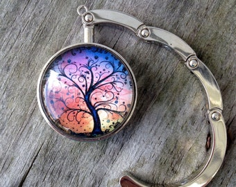 Sunset purse hanger, Purse hook, Purse hanger hook, Tree of life, Folding purse hanger, Gifts for women, Gifts for girls, Stocking stuffer