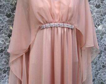 80 s XS pure robe de bal des années 1980, Roman grec Toga style formel robe cocktail w / manches cape pure pure robe des années 1980