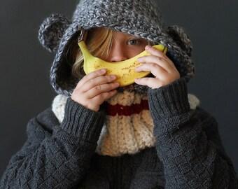 Crochet PATTERN Hooded Sock Monkey Cowl Crochet Hood Pattern Includes Sizes 1 Year to Adult