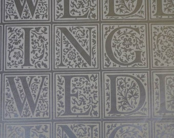 Vintage 1960s Wedding Gift Wrap -WEDDING- Silver Print Wrapping Paper 1 Sheet