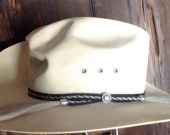 Vintage Resistol straw cowboy hat with horse hair hat band size 7 1/8 R Silver Dollar style Shantung Panama