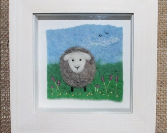 Little Sheep Felted And Embroidered Picture