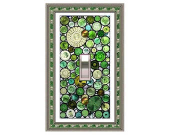 1185a -Green Glass Orbs (not glass) - mrs butler switch plate covers -