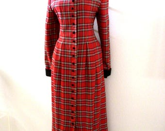 Vintage 90s Red Plaid Maxi Dress - Red Plaid Dress with Black Collar and Cuffs - Long Sleeve Plaid Dress - Size Medium 12