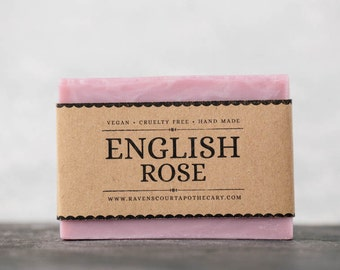 English Rose Soap - Limited Edition Natural Handmade Vegan Soap. Palm Oil Free.