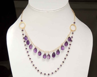 "Amethyst quartz teardrops with amethyst quartz beaded chain gold vermiel necklace 22"""